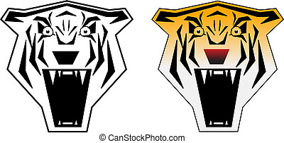 Angry tiger b&w and color vector illustration