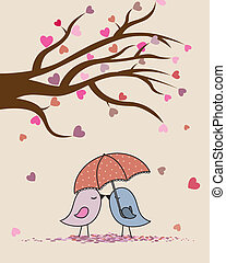 birds in love  - Card san Valentin. birds in love