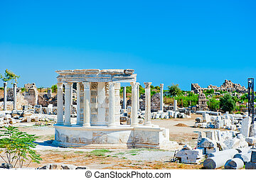 ruins of the ancient city of Side, a local landmark