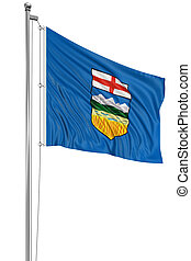 3D Alberta Flag - Rendering of flag Alberta with fabric...