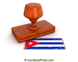 Rubber Stamp Cuban flag