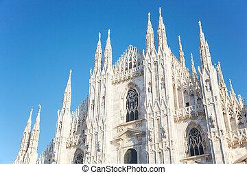 Milan Cathedral - The facade of Duomo di Milano (Milan...