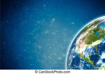 Earth with stars. Elements of this image furnished by NASA