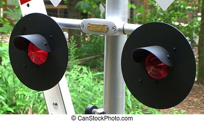 Flashing Railroad Signal with Train Passing - Flashing...