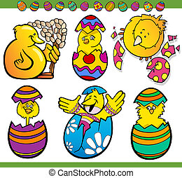 easter chicks set cartoon illustration - Cartoon...