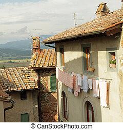 italian nook with drying laundry , Anghiari, Tuscany