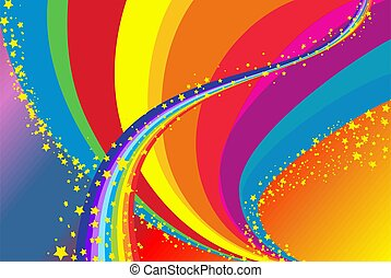 Rainbow - composition of elements and rainbow colors of the...