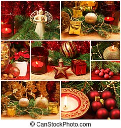 Red and golden Christmas collage - Christmas collage of...