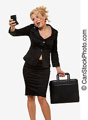 Busy woman - Attractive curly hair blond business woman...