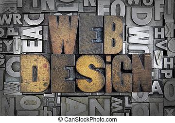Web Design written in vintage letterpress type