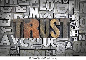 Trust written in vintage letterpress type
