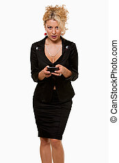Business woman texting - Attractive blond business woman...