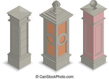 Gate pillars isometric