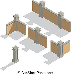 Vector isometric fence set, constru - Vector isometric stone...