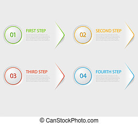 One two three four - flat vector progress icons for four...