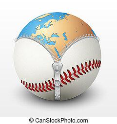 Planet Earth inside baseball ball