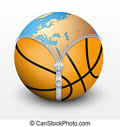Planet Earth inside basketball ball