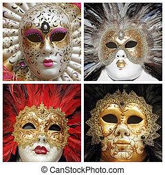 veneciano, carnaval, máscaras, Colección