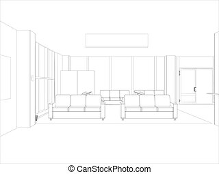 Room. Sofas and windows. Vector format. Created from 3D...