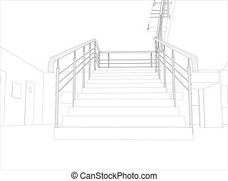 Room. Staircase and railing. Vector format. Created from 3D...