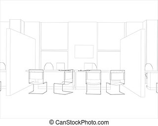 Room. Computer table, chair and window