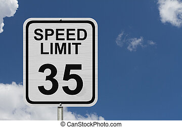Speed Limit 35 Sign - A white American road sign with words...