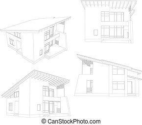 Frame house. Four angle. Vector format. Created from 3D...