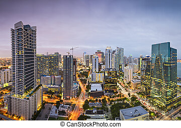 Miami Skyline - Miami, Florida, USA downtown nightt aerial...