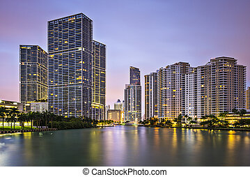 Miami Skyline - Miami, Florida, USA at Brickell Key and...