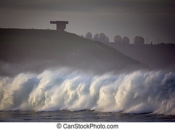 rough seas landscape in the Gij?n bay, in the north of...