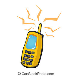 vector doodle mobile phone icon. cartoon phone. - vector...