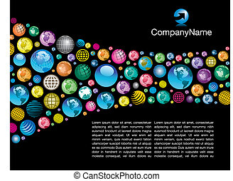 global vector page layout - A colorful, corporate global...