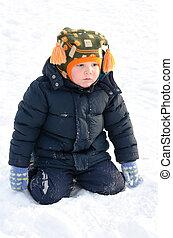 CÙte, Zima, Chłopiec, Śnieg, Mały, klęczący