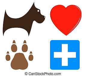 veterinary icons for pet help - set cartoon veterinary icons...