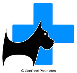 icon with dog, blue medical cross - isolated veterinary icon...