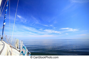 Sailboat yacht sailing in blue sea Tourism - Yachting yacht...