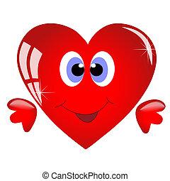 Coração, sorrindo, caricatura