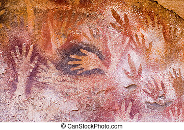 Ancient cave paintings in Patagonia, southern Argentina.