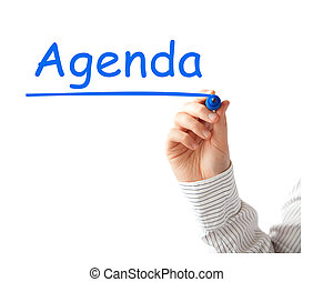 Agenda title on white