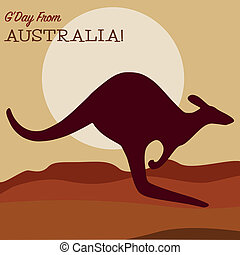 Kangaroo at sunset greeting card in vector format.