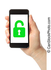Woman hand holds smart phone with lock
