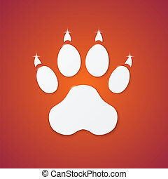 Shiny Plastic Trace of Dog on Orange Background - Vector...