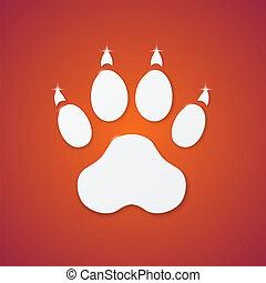 Shiny Plastic Trace of Dog on Orange Background - Vector...