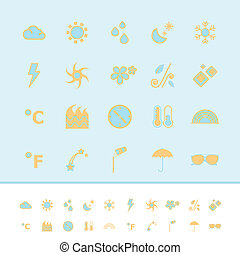 Weather color icons on blue background