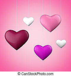 Hanging hearts - A group of colorful hanging hearts with...