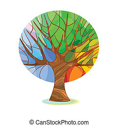 Stylized tree - four seasons - The colors of spring, summer,...