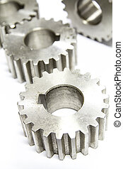stainless steel gear on white background.