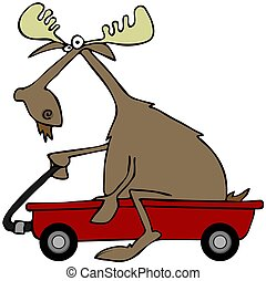 Moose in a red wagon - This illustration depicts a bull...