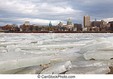 Ice Breaking at Harrisburg - Ice breaking up on the...
