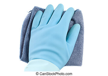 Wiping White - Rubber glove and a cloth isolated against a...